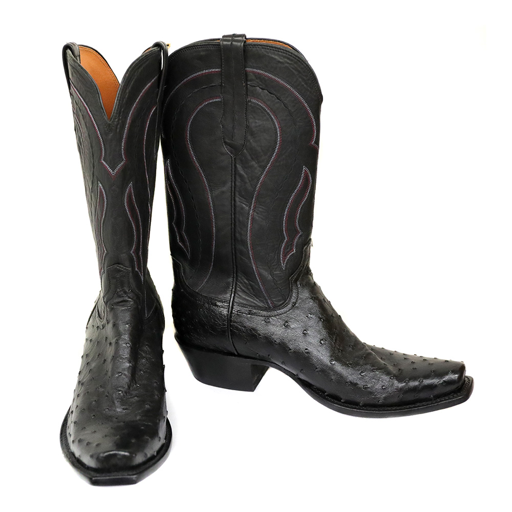 8a02b632589 Lucchese Men's Black Full Quill Ostrich Cowboy Boot