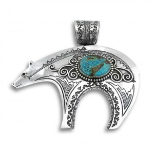 L. Charley Sterling Silver Bear Pendant With Turquoise