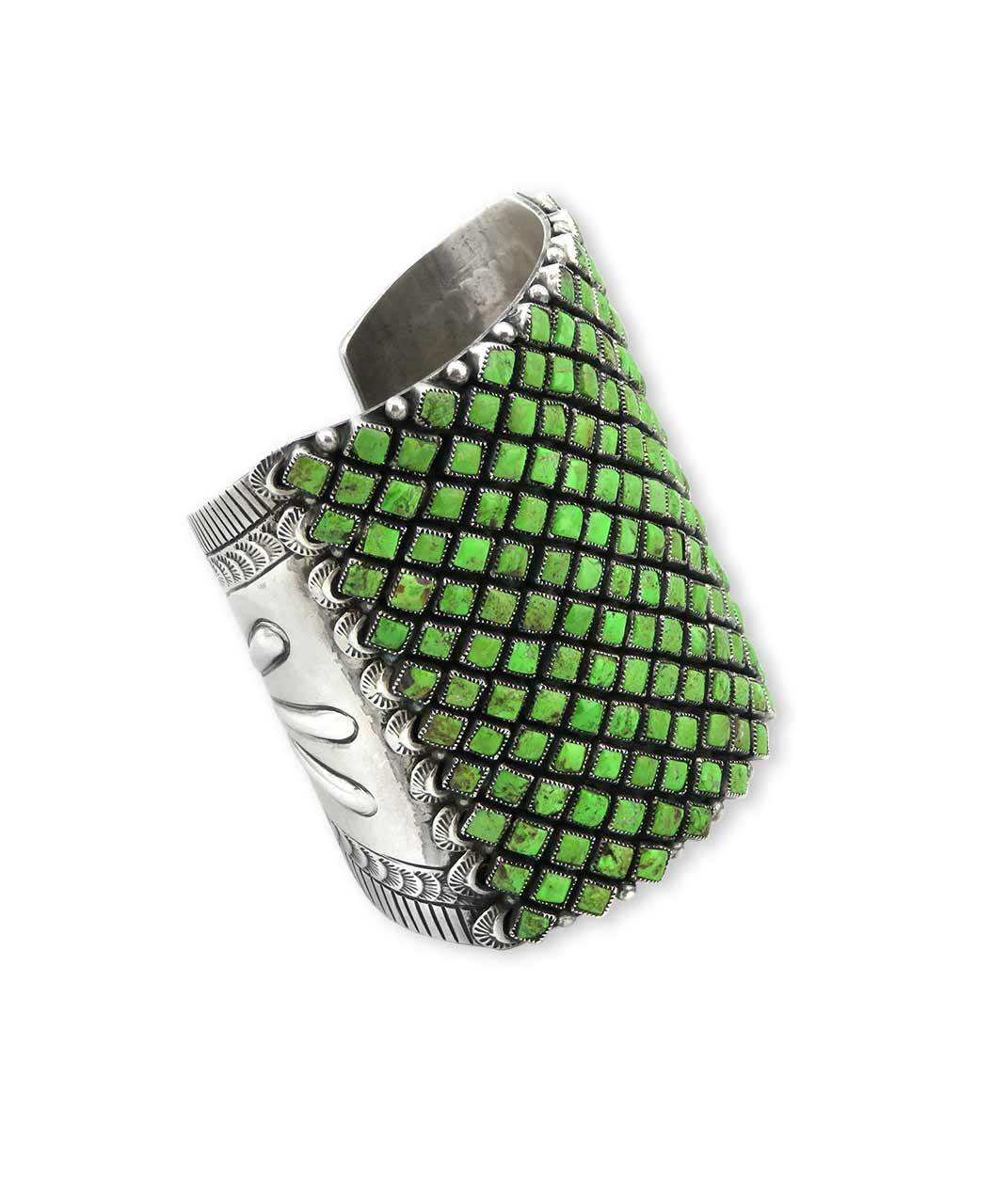 Alice Lister Sterling Silver Cuff With Intricate Green Gaspeite Stone Pattern