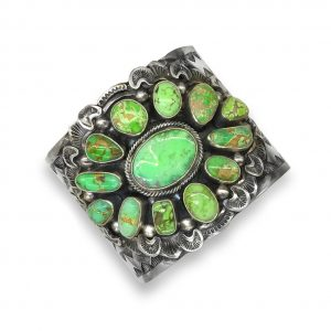 Sterling Silver Cuff With Green Turquoise Cabochons
