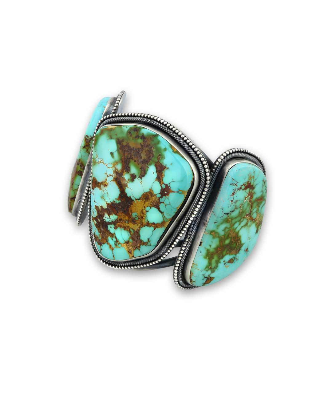 Ernest Begay Sterling Silver Cuff With 3 Turquoise Pieces