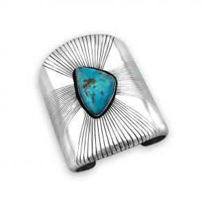 Melvin Francis Kingman Turquoise Silver Cuff Bracelet