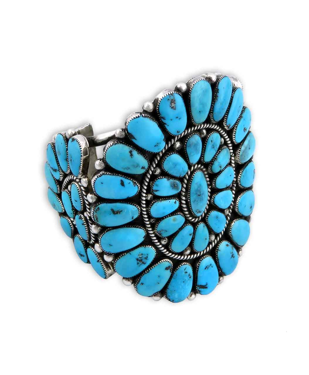 Turquoise Flower Motif Sterling Silver Cuff