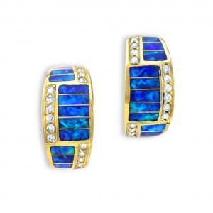 Maverick's 14K Gold Opal Inlay Earrings With Diamonds