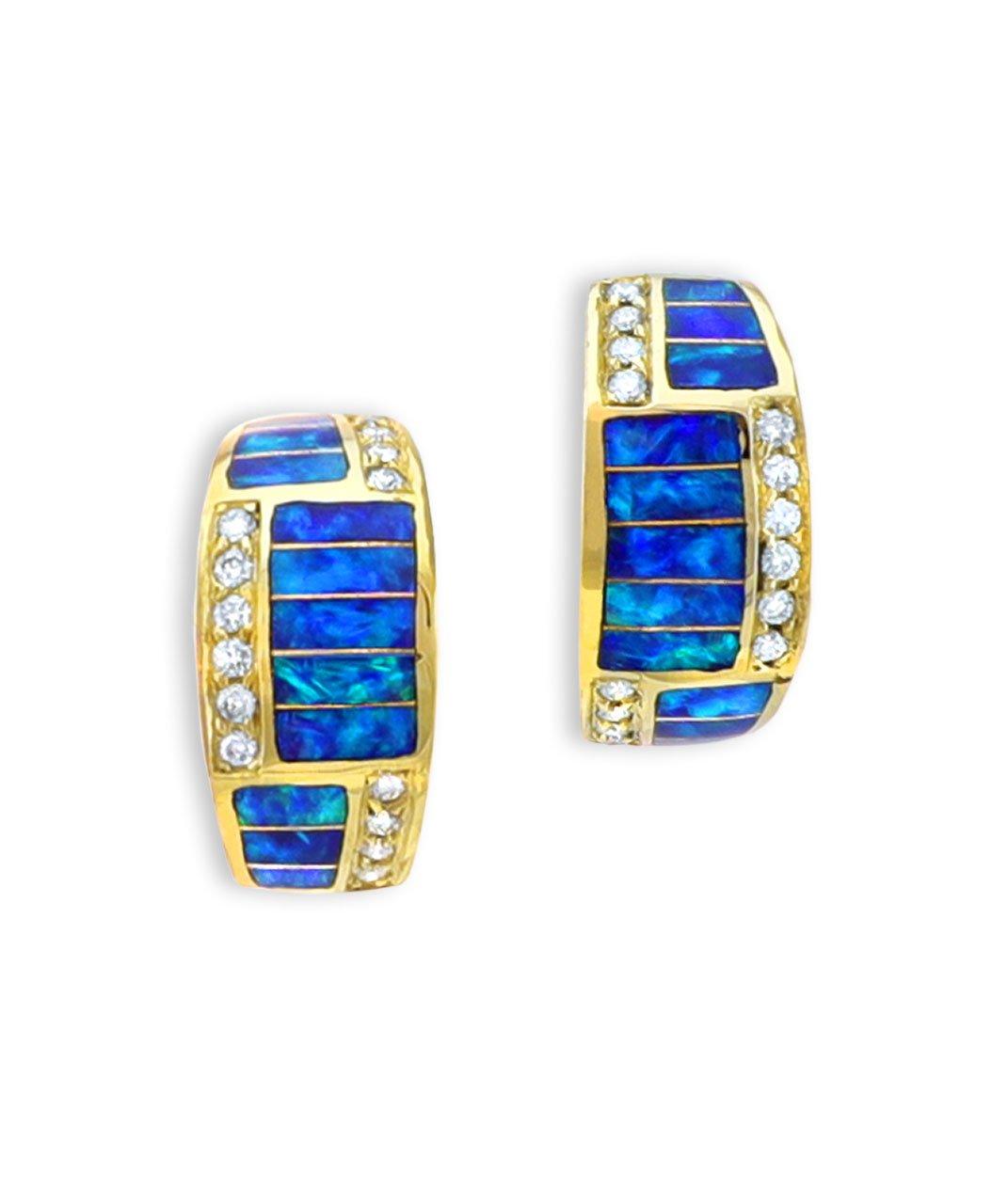 Maverick's 14K Gold Opal Inlay Earrings With Diamonds