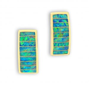 Maverick's 14K Gold Opal Inlay Earrings