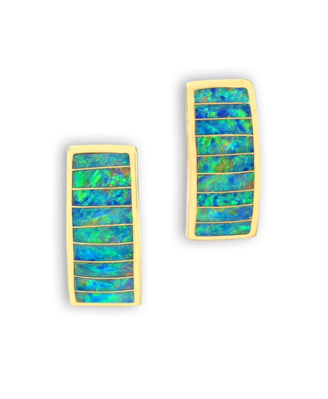 Maverick's 14K Gold Opal Inlay Earrings