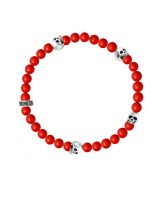 King Baby Red Coral Bracelet With 4 Skulls