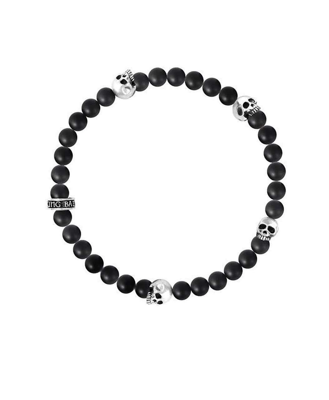 King Baby Black Onyx Bracelet With 4 Skulls