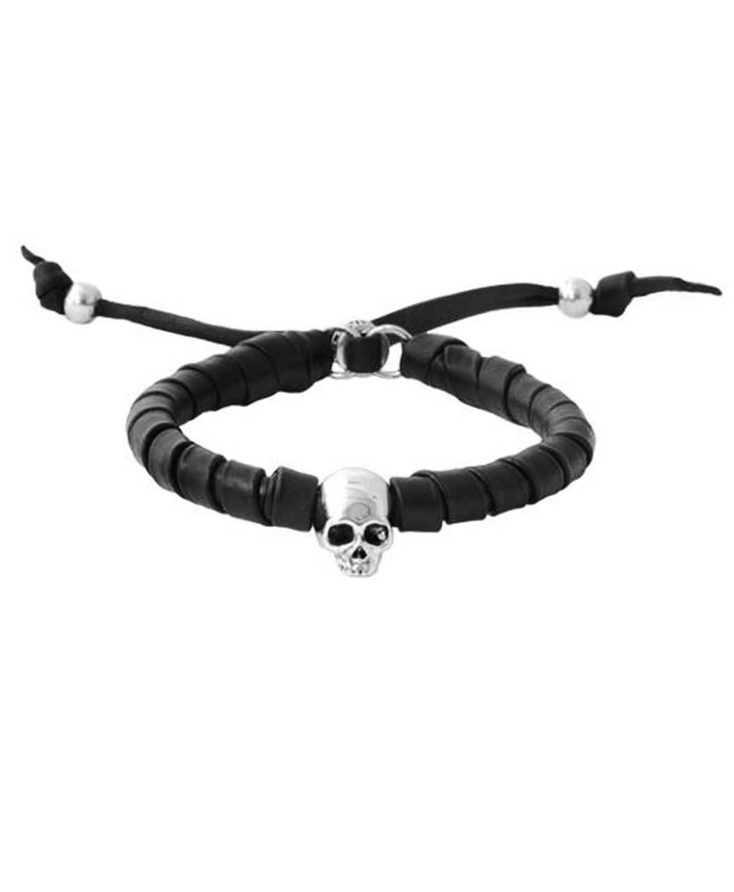 King Baby Black Leather Bracelet With Hamlet Skull Silver