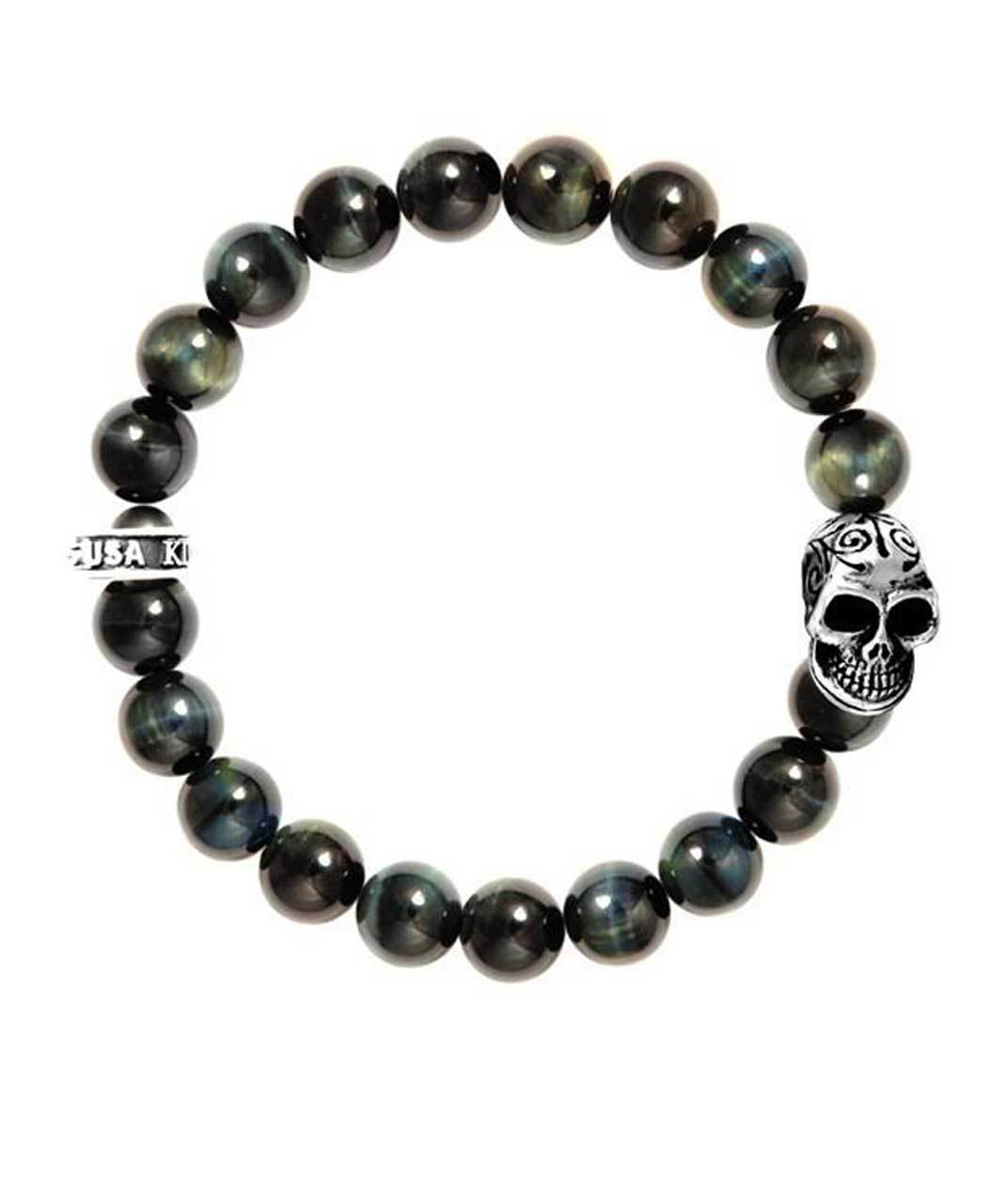 King Baby Blue Tiger Eye Skull Bracelet Sterling