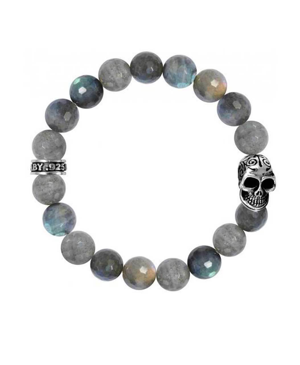 King Baby Labradorite Skull Bracelet Sterling