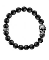 King Baby Black Onyx Skull Bracelet Sterling