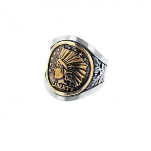 King Baby Liberty Headdress Cigar Band Silver And Gold Alloy