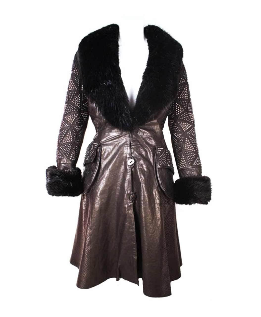Kippys Diamond Spike 3/4 Coat With Beaver Collar