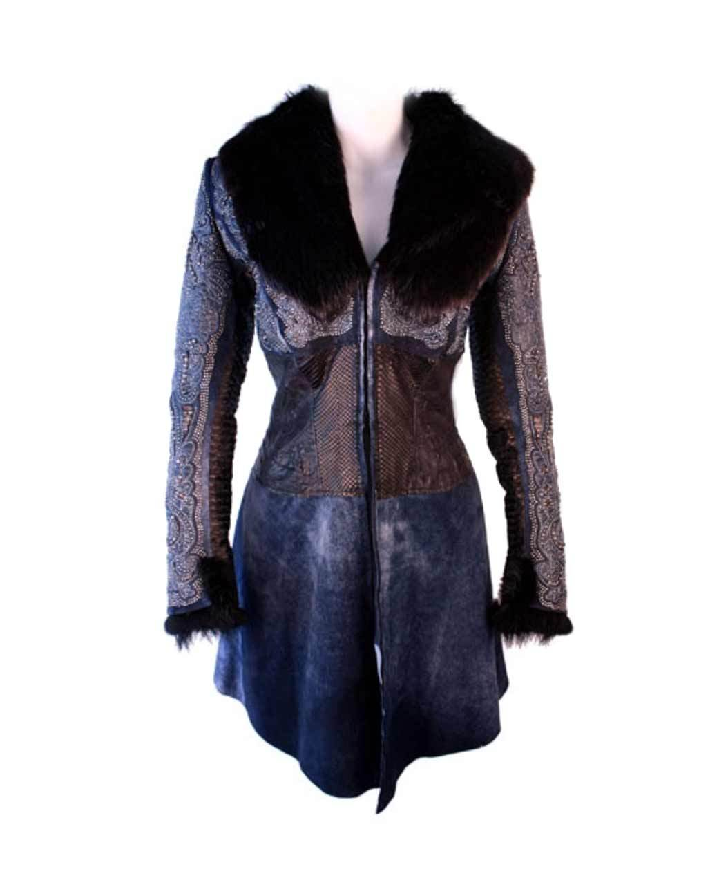 Kippys Leather Python Corset Waist Stitched Jacket With Beaver Fur