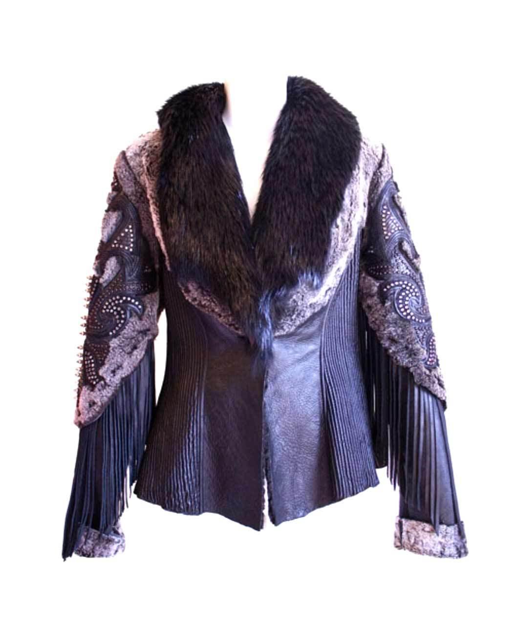 Kippys Fringe Studded Leather Jacket With Beaver Collar