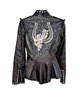 Kippys Cleo Cruzada Horseshoe Embellished Leather Jacket