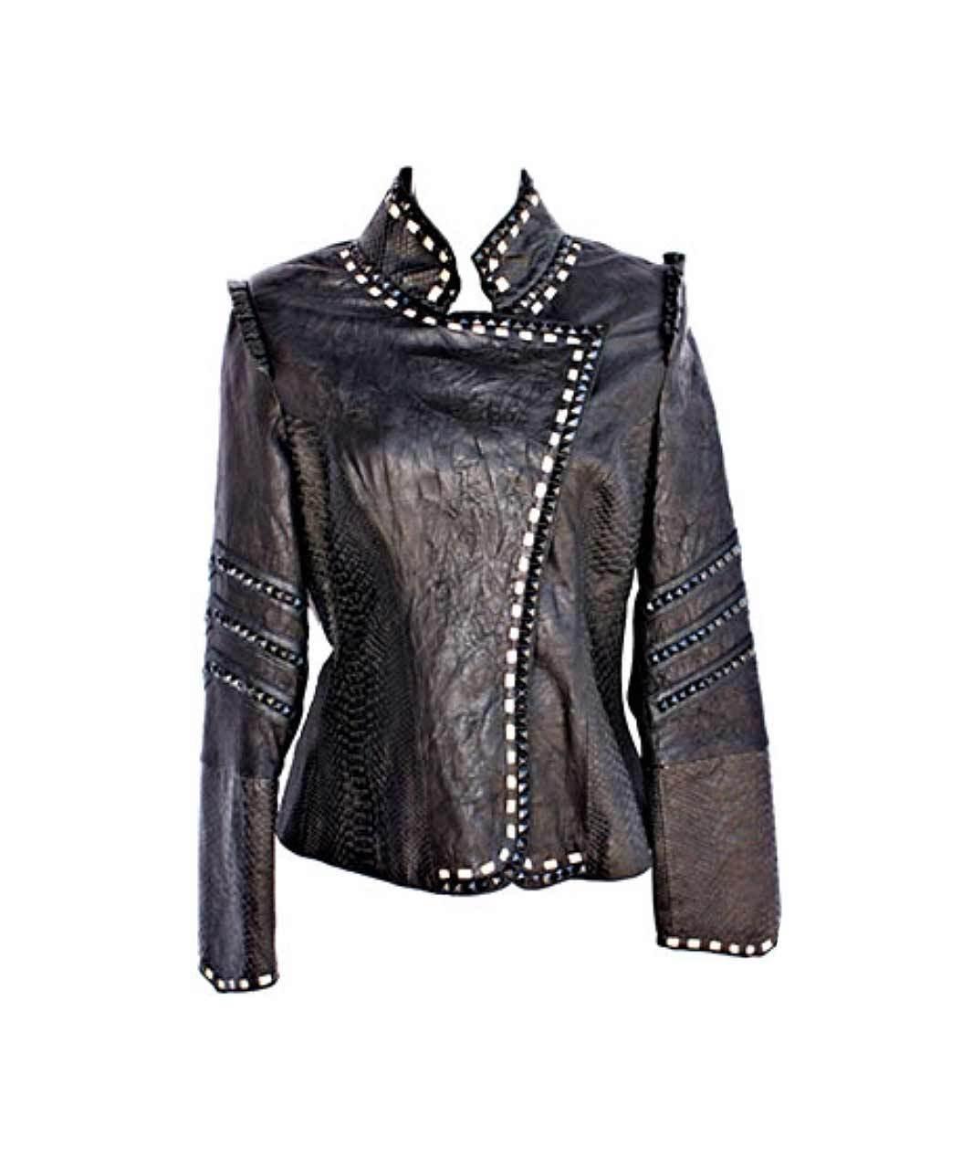 Kippys Cleo Cruzada Horseshoe Embellished Leather Jacket