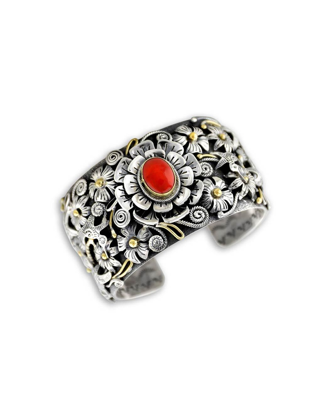 Larry Martinez Chavez Sterling Silver Coral Flower and Hummingbird Cuff