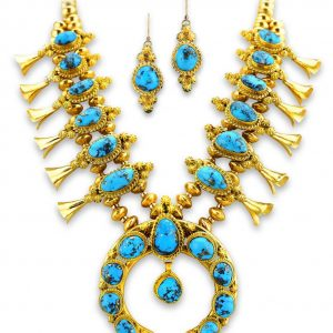 Mark Yazzie Gold Squash Blossom Necklace With Bright Blue Turquoise