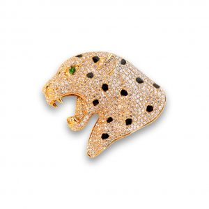 Maverick's Rose Gold Diamond Leopard Head With Green Eye