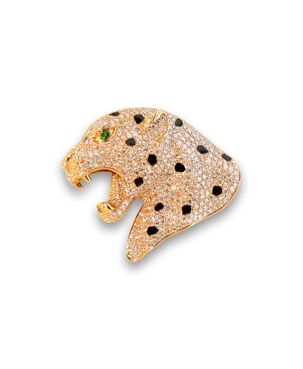 Maverick's Rose Gold Diamond Leopard Head With Green Eye