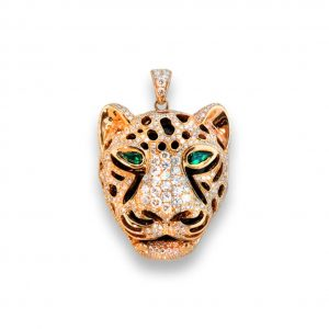 Maverick's Rose Gold Leopard Face Diamond Pendant With Emerald Eyes