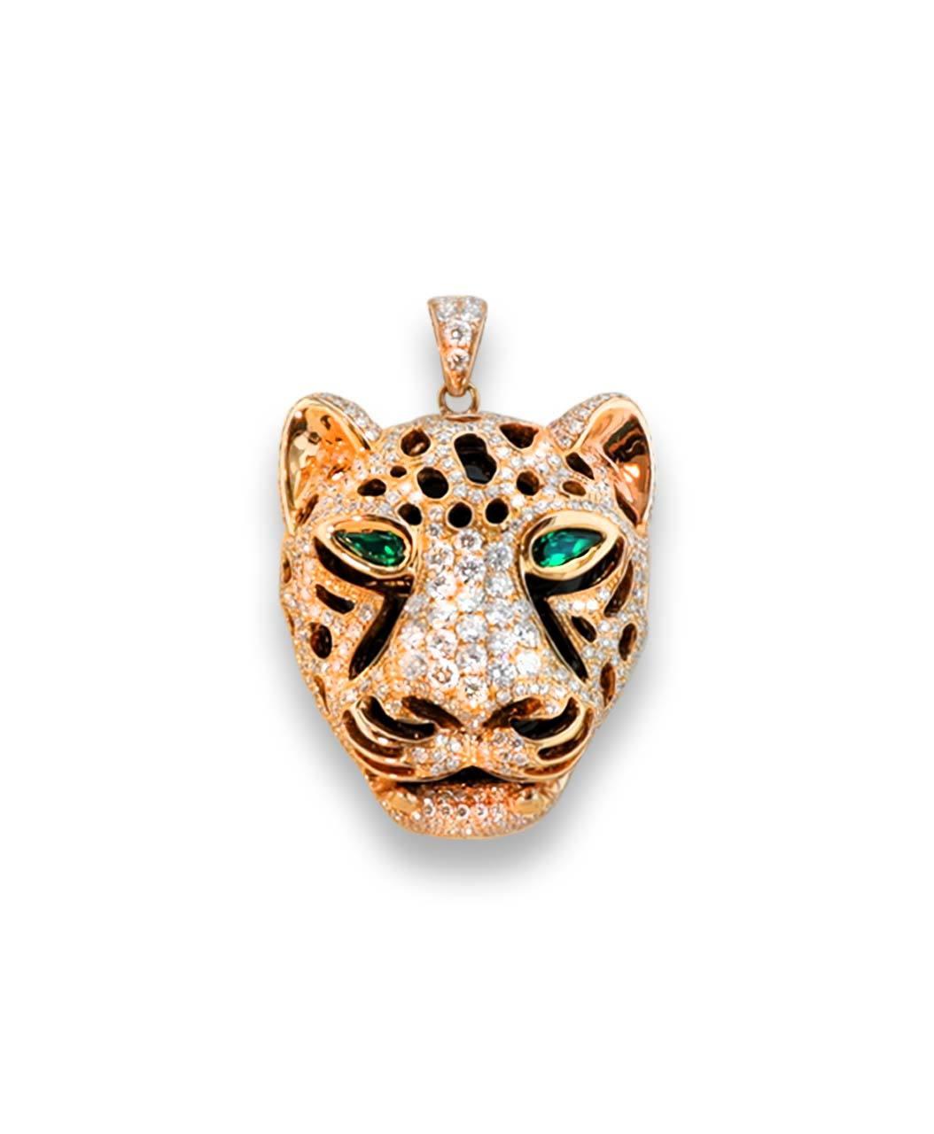 Maverick's Rose Gold Leopard Face Diamond Pendant With Emerald Eyes