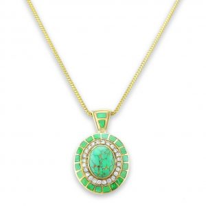 Maverick's Carico Lake Green Turquoise Inlay Pendant With Diamonds