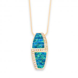 Maverick's - Opal, Diamond, 14K Gold Pendant