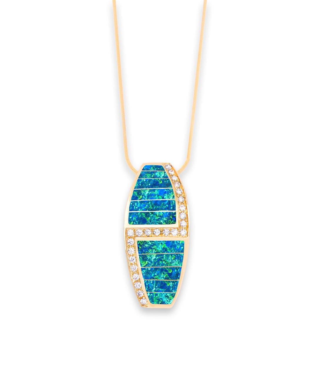 Maverick's - Opal, Diamond, 14K Gold Pendant