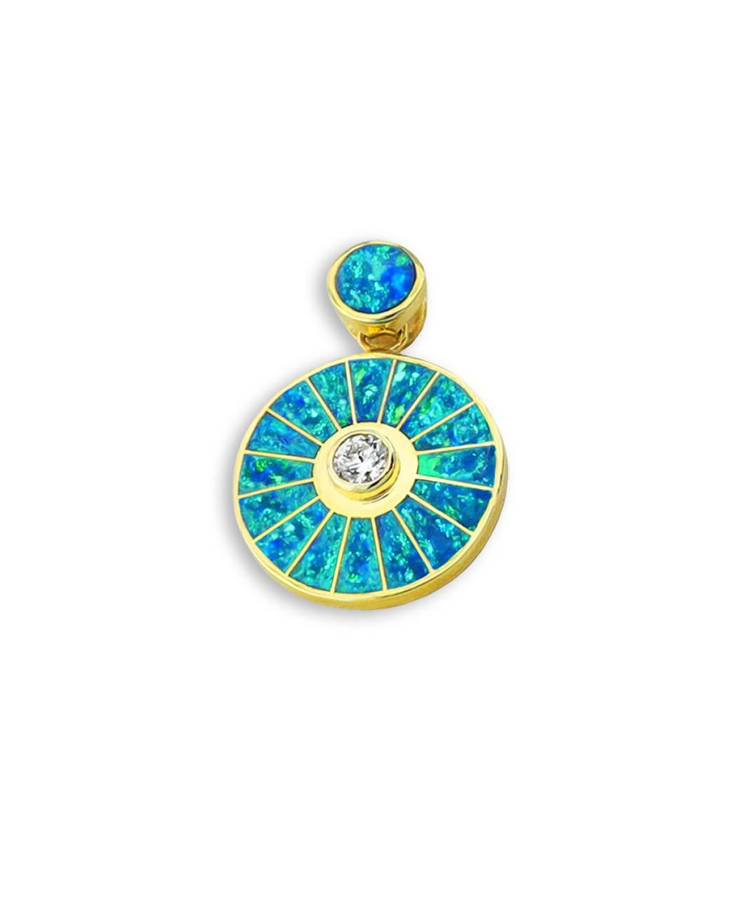 Maverick's - Opal, Diamond, 14K Gold Wheel Pendant