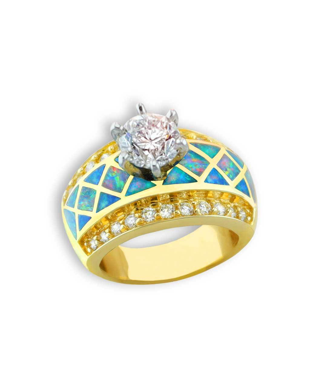 Maverick's - Diamond Solitaire 14K Gold Ring With Opal Pattern