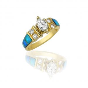 Maverick's 14K Opal Inlay Marquise Diamond Wedding Ring