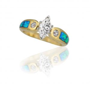 Maverick's 14K Opal Inlay Band With Marquise Center Diamond