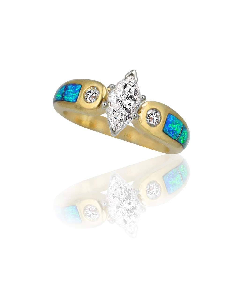 Maverick's 14K Opal Inlay Band With Marquise Center Diamond