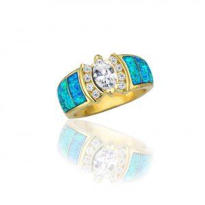 Maverick's 14K Wide Opal Inlay Marquise Diamond Wedding Band