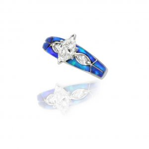 Maverick's 14K White Gold Blue Opal Inlay Diamond Wedding Ring