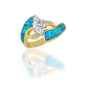 Maverick's Unique 14K Opal Inlay Marquise Diamond Wedding Ring