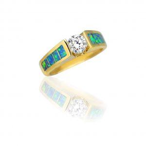 Maverick's Stunning 14K Gold Opal Inlay Diamond Tension-Set Engagement Ring