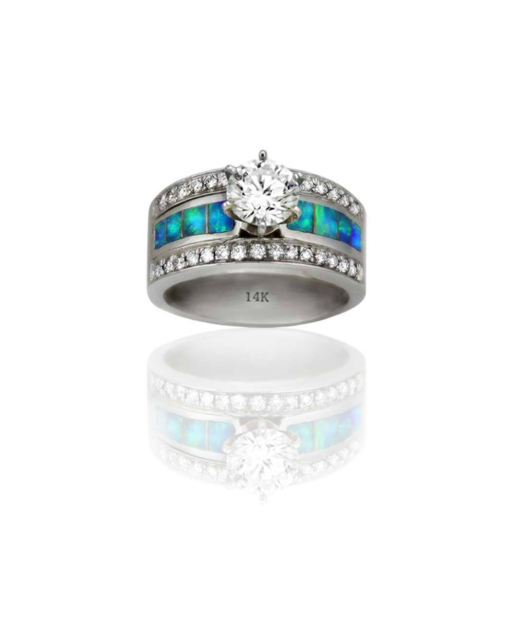 Maverick's 14K White Gold Opal Inlay Band With Round Center Diamond