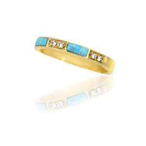 Maverick's 14K Gold Band Turquoise Inlay And Diamonds
