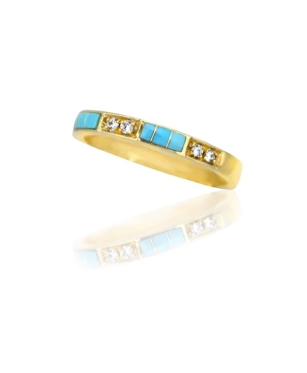 Maverick's 14K Gold Band Turquoise Inlay And Diamonds
