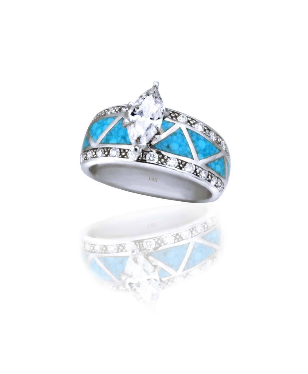 Maverick S 14k White Gold Turquoise Inlay Marquise Diamond Wedding
