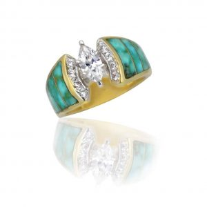 Maverick's 14K Green Turquoise Inlay Wedding Band With Marquise Diamond