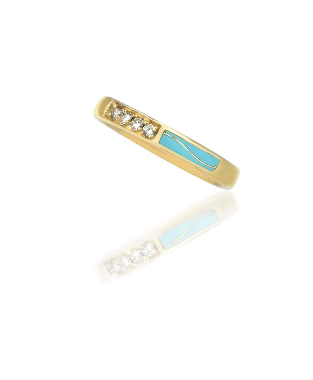 Maverick's 14K Gold Band Diamonds And Turquoise Wave