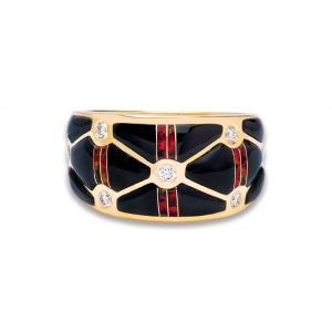 Maverick's 14K Gold Criss-Cross Black Jade Opal Diamond Ring