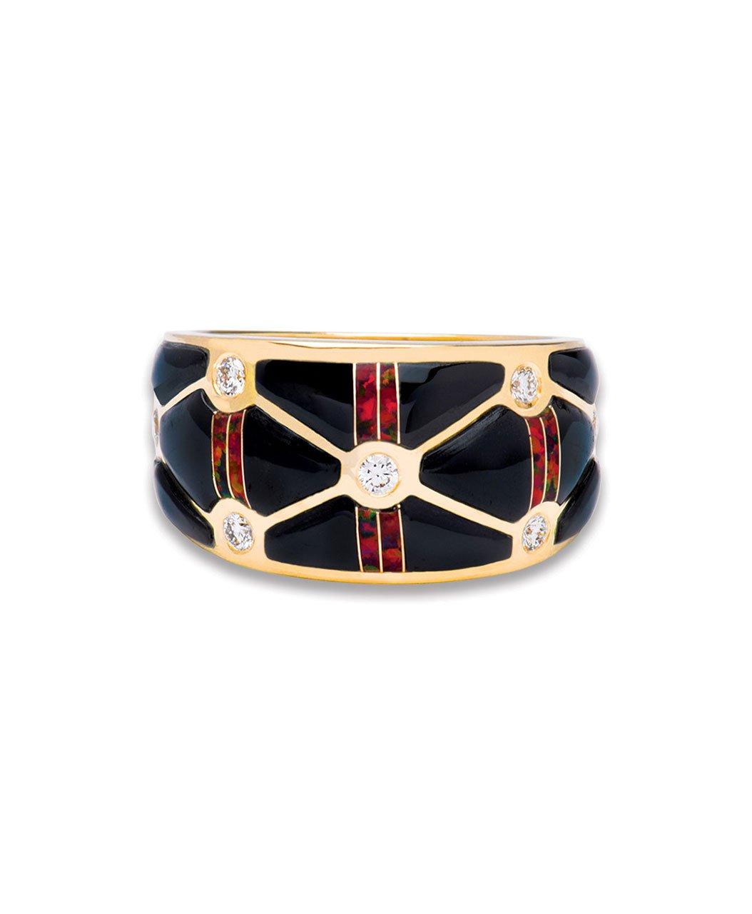 Maverick's 14K Gold Criss-Cross Black Jade Opal Diamond Ring