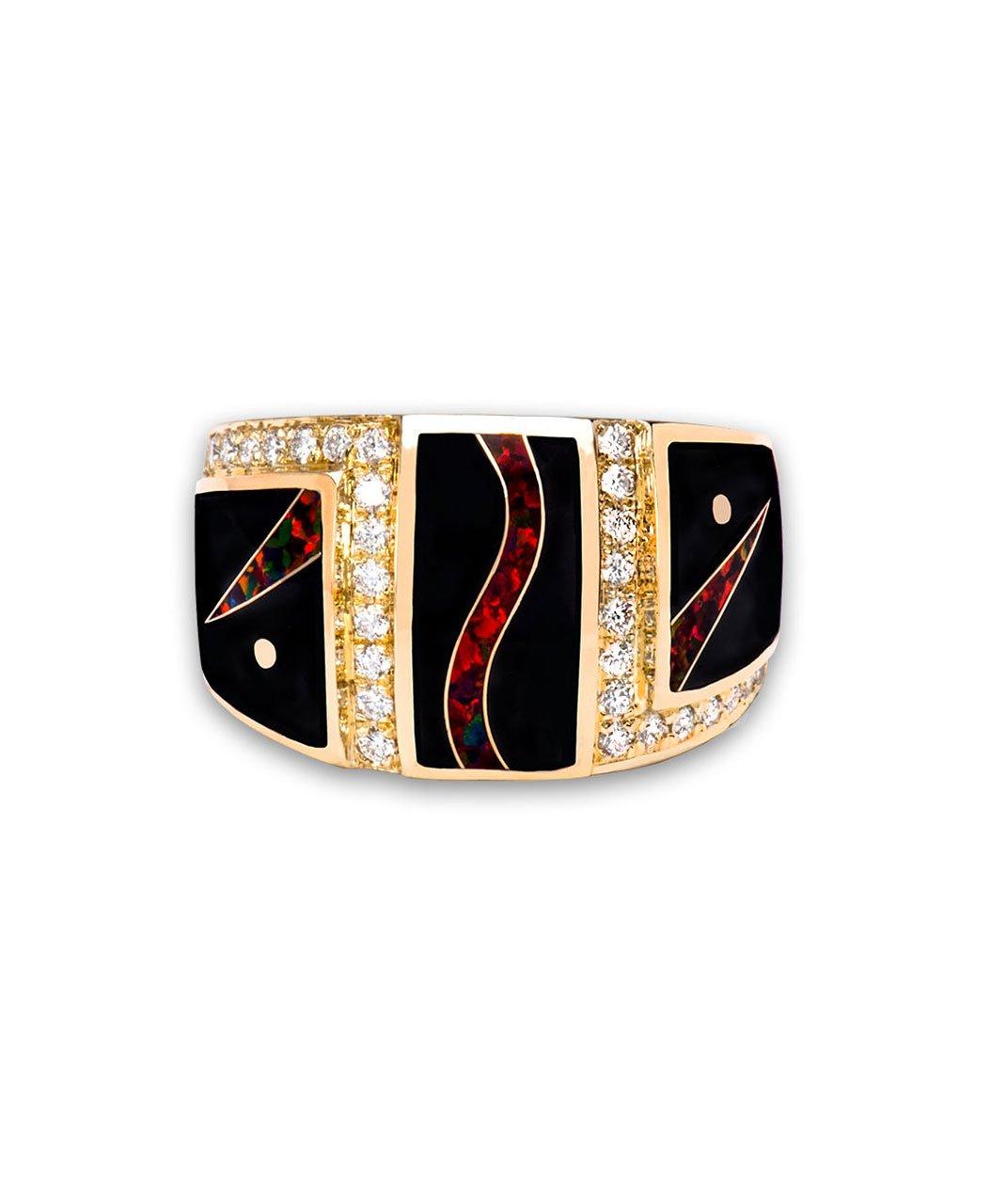 Maverick's 14K Gold Black Jade Opal Diamond Ring